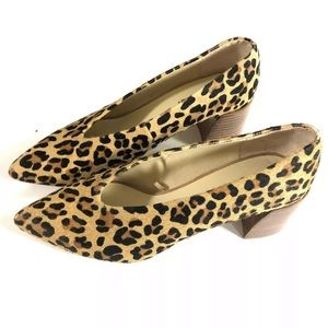 Zara Pony Hair Leopard Print Leather Heels